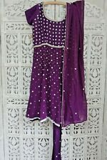 Purple silk  diamanté frock churidaar suit  preloved Size UK 10 EU 36  SKU16102