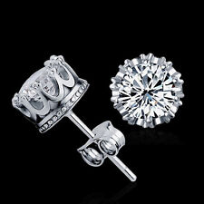 New Sliver Plated Fashion Jewelry 8MM Round Cubic Zirconia Simple Stud EarringLC