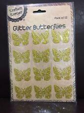 NEW - GLITTER BUTTERFLIES- GOLD - PACK OF 12