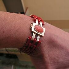 Antique Style Mediterranean Red Blood Coral Italy 18Kt Bracelet