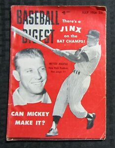 1956 July  BASEBALL DIGEST Magazine VG- 3.5 Mickey Mantle / Jinx on the Champs