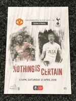 Manchester United v Spurs 21st April 2018 Emirates FA CUP Semi Final Programme
