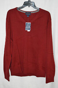 Lands' End Men's Supima Cotton V Neck Red Sweater - Size L/XL NWT