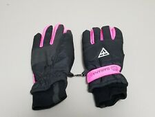 New listing Pair Saranac Womens Black and Pink Ski Gloves Size Youth Large Good Condition