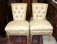 Pair of French Antique White Upholstered Louis XVI Living Room Chairs