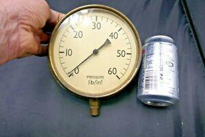 Antique/Vintage Large Brass Pressure Gauge-Train Boat Steam Engine Display Item