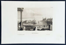1855 Herrmann Meyer Antique Print of Havana Harbor & Fort La Cabana Cuba - 33759