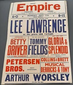 1950 Empire Theatre Leeds Poster Variety Lee Lawrence Betty Driver Tommy Fields