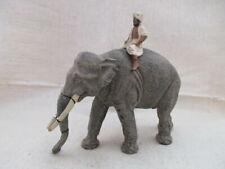 seltener Lineol Elefant mit Mahout Treiber um 1930 17,5 cm hoch