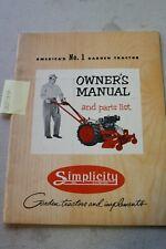 Simplicity Vintage Garden Tractor Operators Manual Amp Parts List