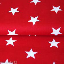 Baumwollstoff Baumwolle Sterne Weiß 35mm Groß auf Rot mit Sternen
