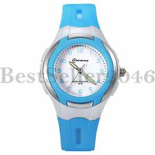 Multifunction Waterproof Jelly Gel Color Boys Girls Kid Sport Quartz Wrist Watch