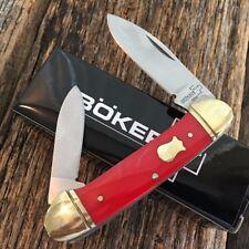 """BOKER PLUS 3 5/8"""" Canoe Pocket Knife RED Handles NEW Vintage Style BO235R"""