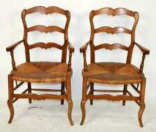 PAIR OF ANTIQUE FRENCH PROVINCIAL RUSH BOTTOM ARM CHAIRS IN CHERRY