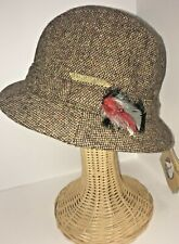 Hanna Hats Ireland Tweed Walking Hat Brown Made in Ireland Size Medium Feather