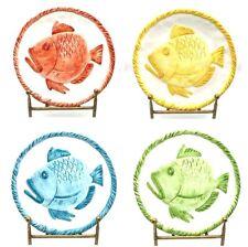 """4pcs Set Italian Hand-made 12"""" Ceramic Fish Plates, Made in Italy"""