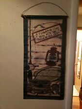 A Fisherman Lives Here With The Catch Of His Life Cabin Man Cave Wall Hanging