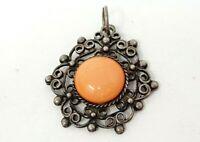 Vintage Silver tone Filigree Orange Cabochon Pendant