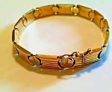 "14K Yellow & White Gold 7 1/4"" Ribbed Nail Head Link Bracelet Italian 13 gm. EUC"