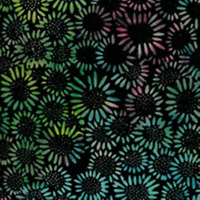 "Batik Quilting Flower Power III 100% Cotton Fabric 44"" Muti Collor on Black  SBY"