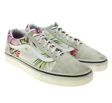 VANS Womens Ivory Suede Floral Canvas Print Skate Sneakers Shoes Size 5.5