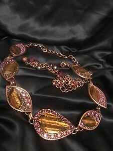 Runway CHICOS Copper Tone Metal Purple Crystals & Faux Tiger Eye Adjustable Belt