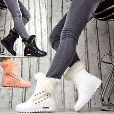 GEFÜTTERT Winter Stiefel Damenschuhe Stiefeletten Warm Kunstfell Lederoptik Weiß