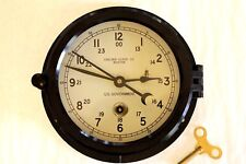 """CHELSEA CLOCK CO BOSTON US GOVERNMENT ISSUE 6"""" DIAL KEY WIND DECOMMISSIONED RUNS"""