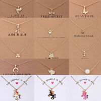 Fashion Charm Womens Unicorn Pendants Gold Clavicle Chains Choker Necklaces