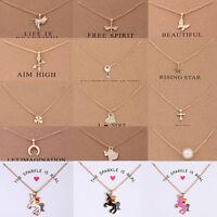 Fashion Charm Womens Unicorn Pendants Gold Clavicle Chains Choker Necklaces