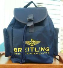 Rare Vintage late 1990s Breitling Rucksack Backpack Bag Navy Blue Yellow Stitch