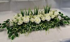 Artificial Bespoke White Rose Flower Wedding Table Centrepiece Greenery Ivy A