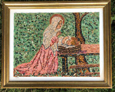Vtg Signed 1960s Mid Century Modern Wall Art Gravel Pebble Picture Madonna Child