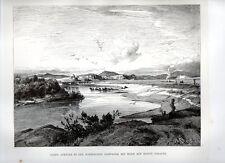 Stampa antica ROMA veduta località Acqua Acetosa monte Soratte 1876 Old print