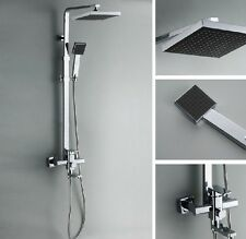 "Chrome Bath Shower Faucet Set 8"" Rain Shower Head + Hand Spray Mixer Tap Square"