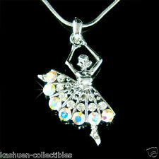 w Swarovski Crystal ~BALLERINA~ Ballet Dancer Dance Girls Charm Pendant Necklace