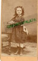 CDV Photo - Little girl Standing - Plaid Dress, Wearing Necklace
