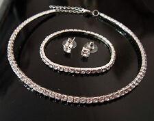 Bridal Jewellery Set Rhinestone Choker - Necklace Earrings Studs & Bracelet S204