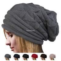 Fashion Womens Knit Crochet Ski Hat Winter Warm Braided Baggy Beret Beanie Cap