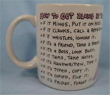 How To Get Along At The Office Coffee Mug Hallmark Cards Inc Colorful Funny (O)