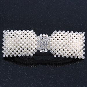 Bridal Wedding Prom Silver Tone Crystal Simulated Pearl 'Bow' Barrette Hair