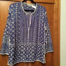 Isabel Marant Etoile SZ S KURTI BARBER Blue & White Print Tunic Top