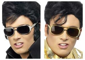 Adult Elvis Shades Gold Silver Music Icon Fancy Dress Party Accessory