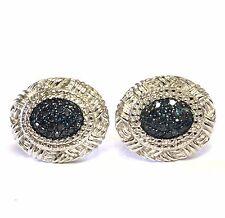 925 sterling silver .36ct SI2 blue diamond stud earrings 5.4g ladies estate