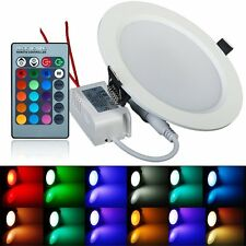 US 10W RGB Color Changing LED Panel Lamp Recessed Ceiling Light Remote Control