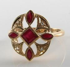 LARGE 9CT GOLD INDIAN RUBY & DIAMOND COMPASS ART DECO INS RING FREE RESIZE