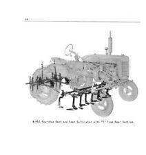 IH Farmall McCormick A-452 4 Row Vegtable Cultivator Owner's Manual Super A 140