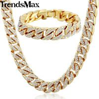 Men Hip-Hop 14mm Miami Curb Cuban Gold Filled Necklace Bracelet Set Chain