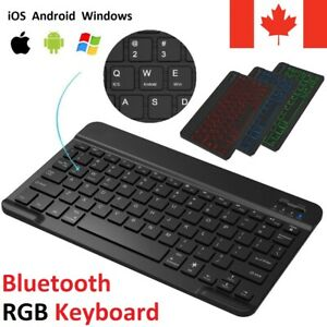Universal Bluetooth 3.0 RGB Wireless Keyboard Slim Portable Rechargeable Battery