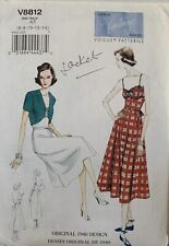 Vogue Vintage Model 1940 Design Uncut Sewing Pattern V8812 Dress & Jacket 6-14